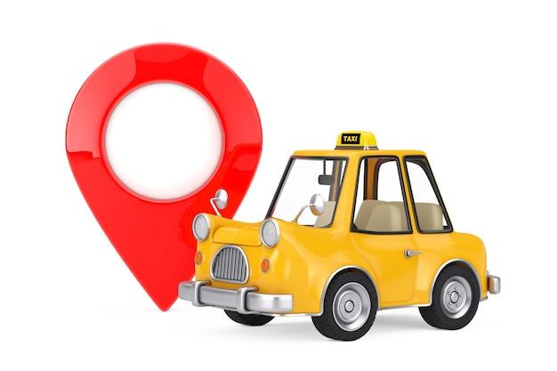 Coche de taxi de dibujos animados amarillo con pin de destino de puntero de mapa rojo sobre un fondo blanco. representación 3d