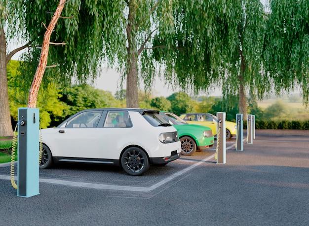 Coches eléctricos 3d en estacionamiento.