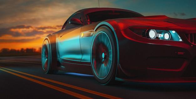 Los coches modernos están en la carretera. 3d ilustración y render 3d.