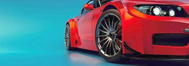 Los coches modernos están en la sala de estudio. ilustración 3d y render 3d.