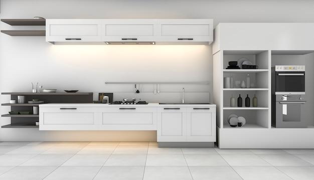 Cocina blanca de renderizado 3d con un bonito diseño incorporado.