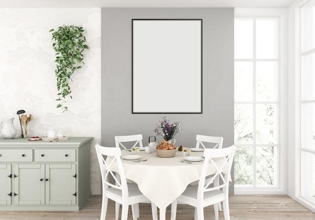 Cocina campestre con marco vertical vacío