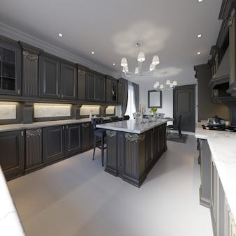 Cocina clásica, diseño interior minimalista moderno con detalles de madera, renderizado 3d