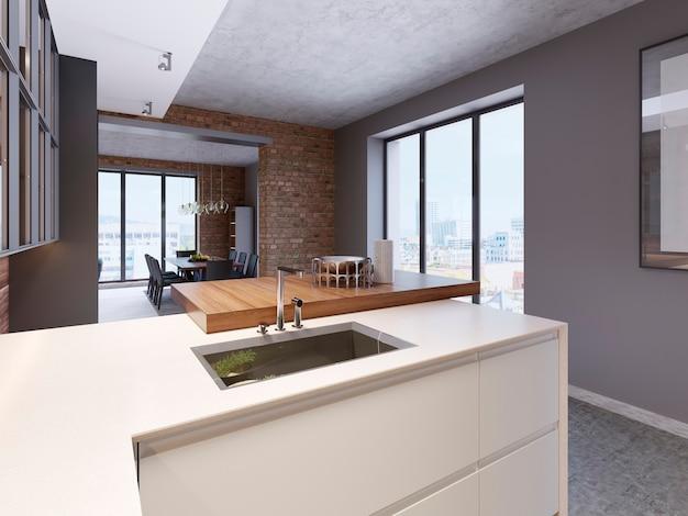 Cocina diseñada con encimera blanca brillante y grifo de acero inoxidable frente a isla de cocina. representación 3d