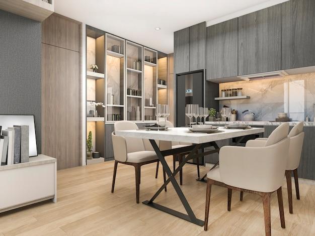 Cocina de diseño moderno y de lujo de representación 3d en blanco con mesa de comedor y estante