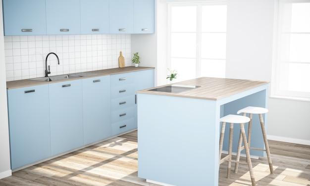 Cocina elegante azul con isla render 3d