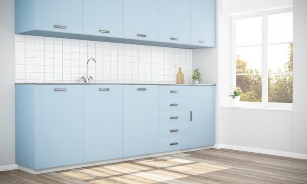 Cocina elegante azul