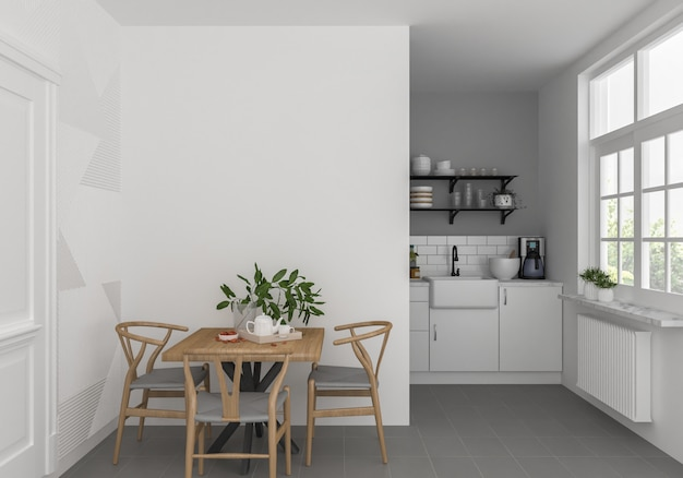 Cocina escandinava con pared en blanco