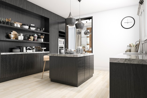 Cocina escandinava de renderizado 3d con diseño blanco y negro