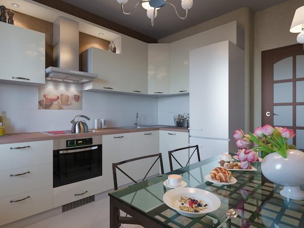 De cocina con fachadas de color beige y muebles de forja