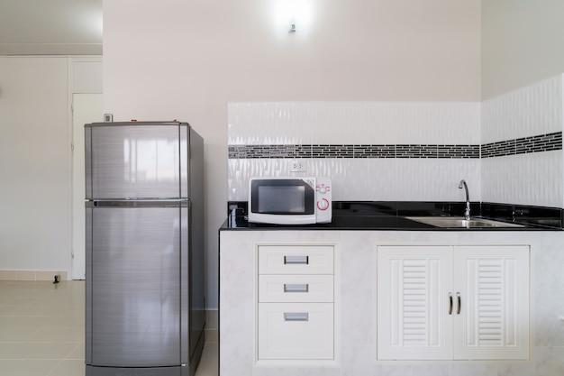 Cocina interior de lujo con refrigerador, microondas, tipo de habitación tipo estudio de condominio