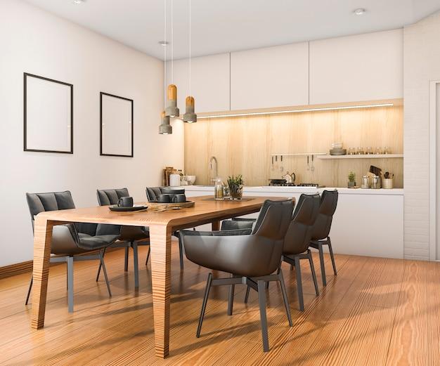 Cocina de loft de madera de renderizado 3d con barra y zona de estar