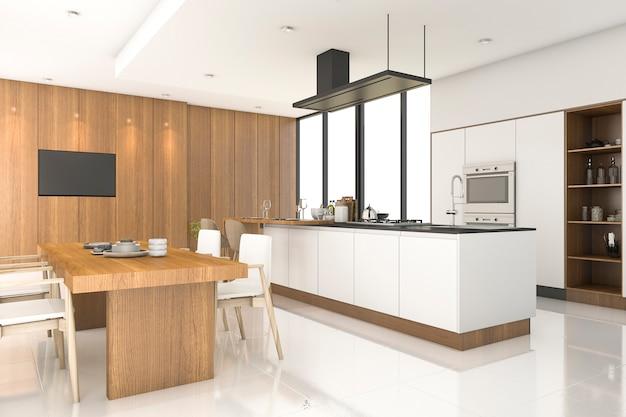Cocina de madera de renderizado 3d con decoración blanca junto a la ventana