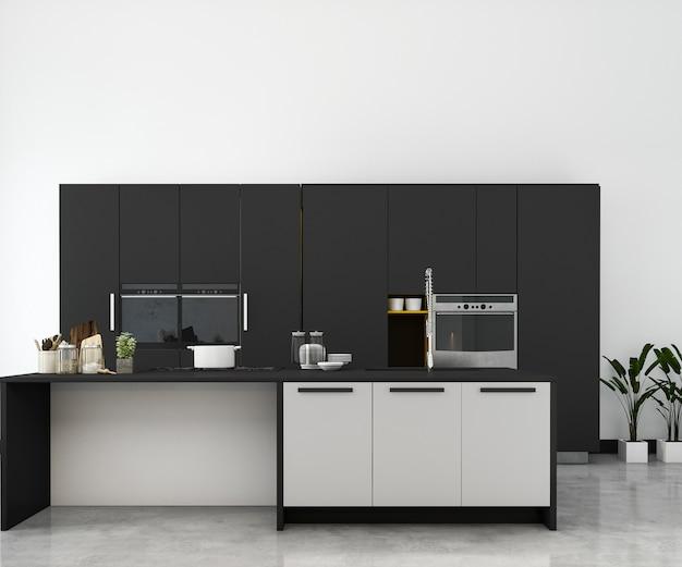 Cocina de maqueta mínima blanca de renderizado 3d con decoración de madera