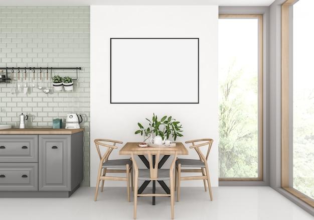 Cocina con marco horizontal vacío