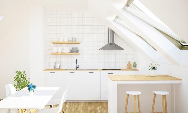 Cocina minimalista en el ático