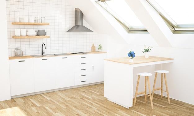 Cocina minimalista moderna en el ático