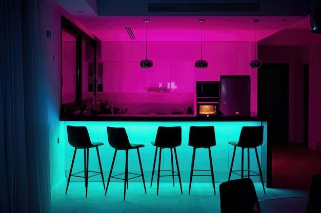 Cocina moderna con luces rosas y rojas.