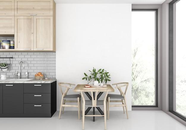 Cocina moderna con pared en blanco