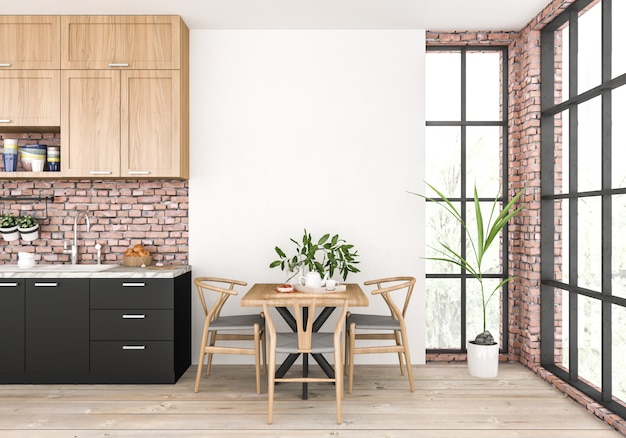 Cocina moderna con pared vacía.