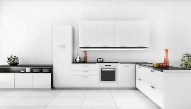 Cocina moderna de renderizado 3d con buen mostrador de diseño
