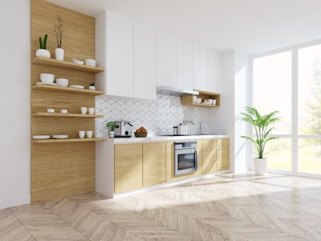 Cocina moderna sala blanca interior.