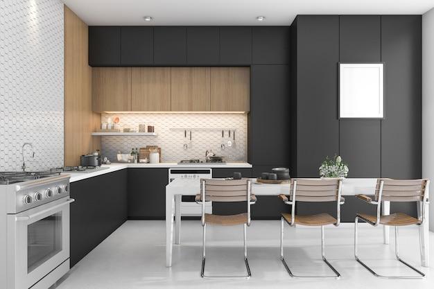 Cocina negra con diseño en madera.