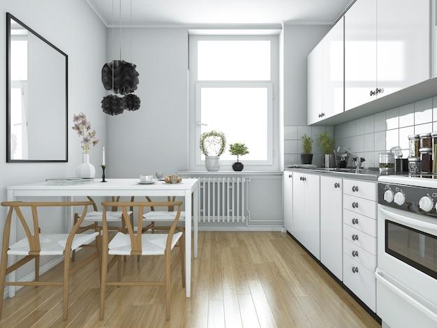 Cocina vintage escandinava de renderizado 3d con mesa de comedor