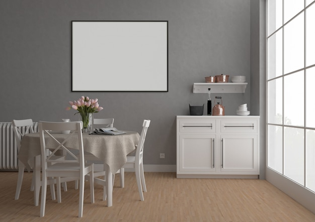 Cocina vintage con marco horizontal, fondo de arte, maqueta interior