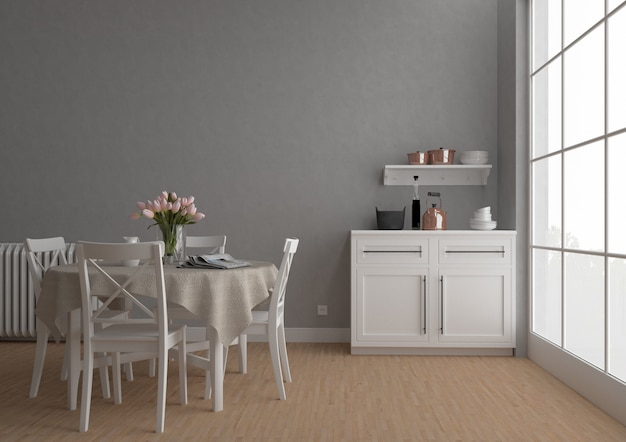 Cocina vintage con pared en blanco, fondo de obras de arte, maqueta interior