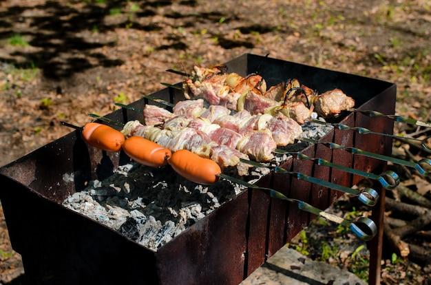 Cocinar barbacoa en la naturaleza.
