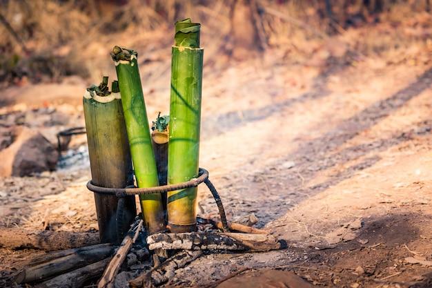 Cocinar comida en tubo de bambú en bosque de camping.