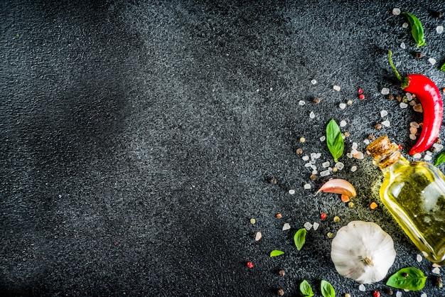 Cocinar piedra fondo de hormigón con especias