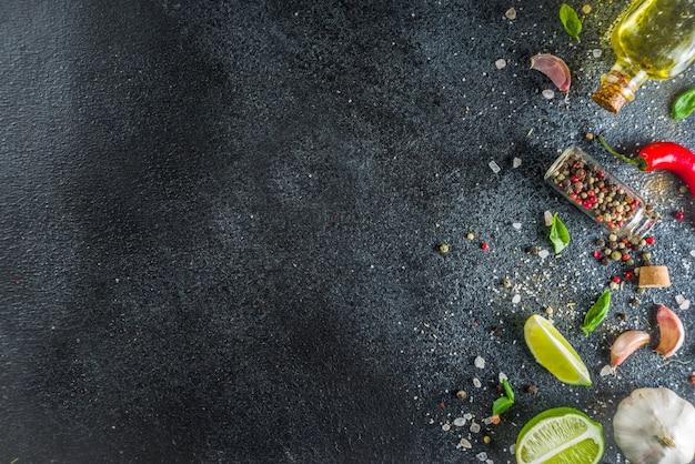 Cocinar piedra de hormigón con especias