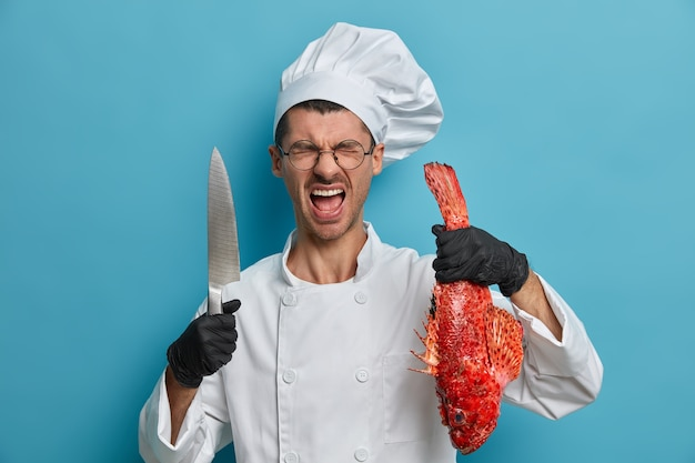 Cocinero francés profesional enojado pasar mucho tiempo en la cocina, viste uniforme, guantes de goma negros, posa con pescado y cuchillo