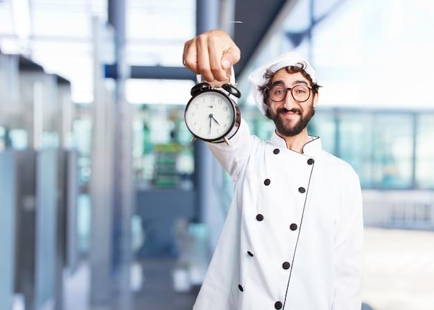 Cocinero loco expresión feliz