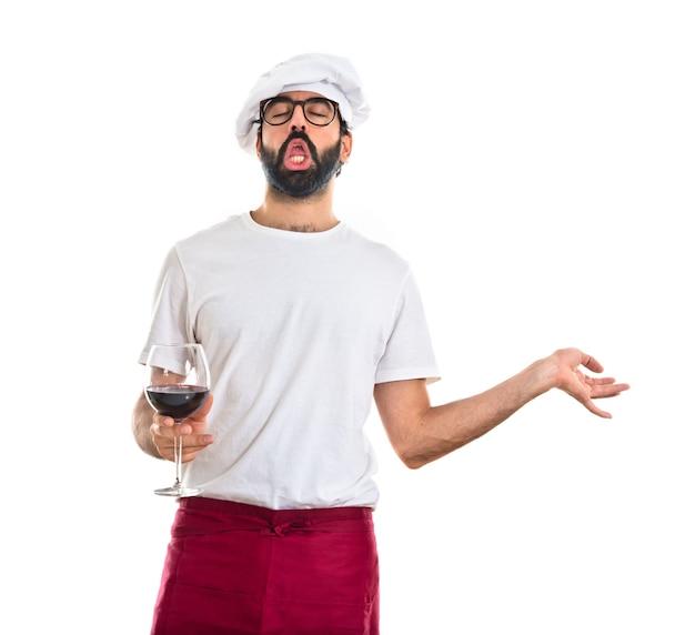 Cocinero, tenencia, vino, vidrio