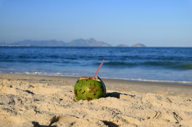Coco joven fresco en la playa arenosa copacabana en río de janeiro, con el océano atlántico borroso en el fondo
