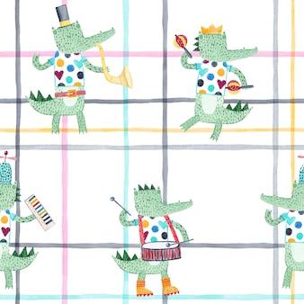 Cocodrilos alegres con instrumentos musicales. acuarela de patrones sin fisuras. fondo infantil creativo para tela, textil, papel tapiz infantil.