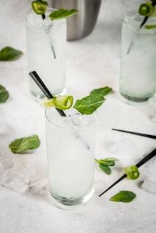 Cóctel de gin tonic y pepino