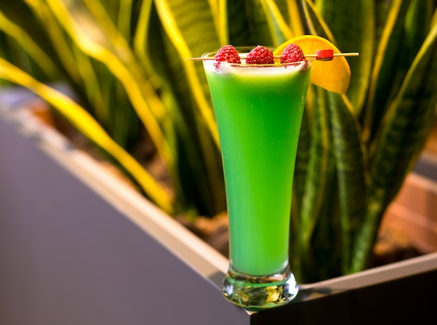 Cóctel hada verde tequila vodka licor ajenjo lima frambuesa vista lateral