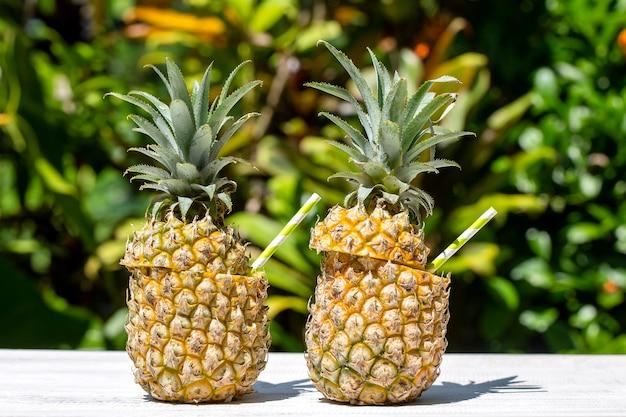 Cóctel de piña colada en dos piñas frescas en jardín tropical