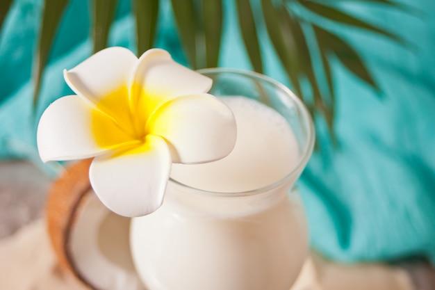 Cóctel tropical exótico caribeño tradicional bebida piña colada en vasos con flores de plumeria frangipani, hoja de palma y coco. concepto de picnic de playa tropical.