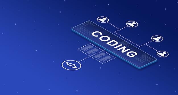 Codificación en pantalla inteligente en el sistema con iconos de usuario 3d