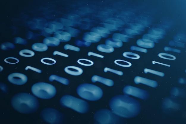 Código binario de la ilustración 3d en azul. bytes de código binario. concepto de tecnología. binario digital