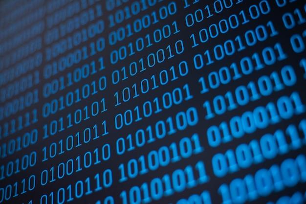 Código binario en pantalla detallada pixelada