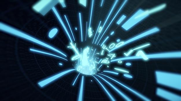 El código binario vuela en los cables de internet de alambre