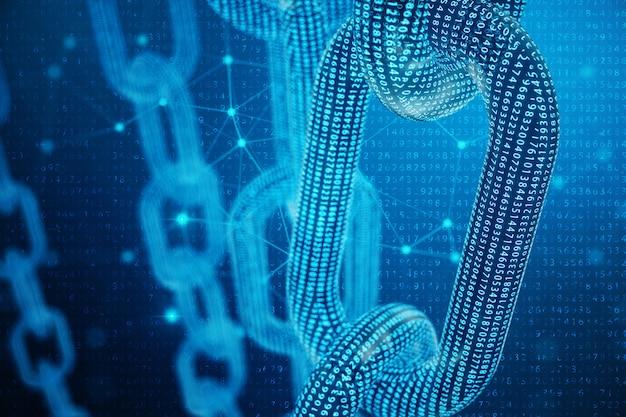 Código de cadena de bloque digital de ilustración 3d