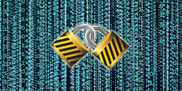 Código de clave binaria protección de base de datos digital concepto de protección de datos del sistema informático