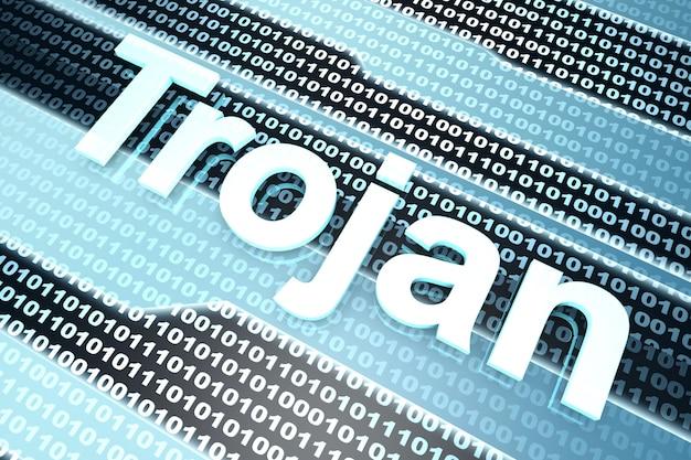 Un código fuente digital infectado por un virus troyano.